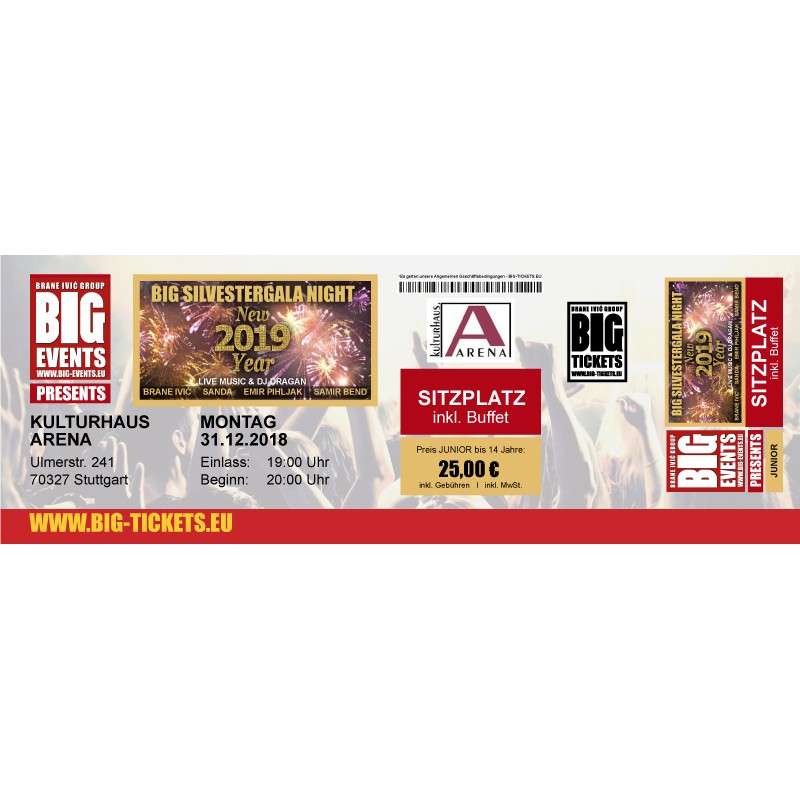 JUNIOR BIS 14 Jahre-BIG SILVESTERGALA NIGHT  - JUNIOR-SITZPLATZ Ticket/Karte